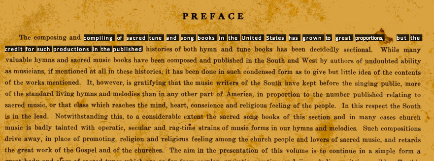 Text selection from the [preface](http://readux.library.emory.edu/books/emory:r8qzb/pages/emory:r8r6d/) of the [1911 Original Sacred Harp](http://readux.library.emory.edu/books/emory:r8qzb/) in [Readux](http://readux.library.emory.edu/) in [Readux](http://readux.library.emory.edu/). *(click to view animation)*